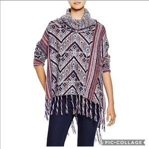 Free People Womens Printed Finge Sweater